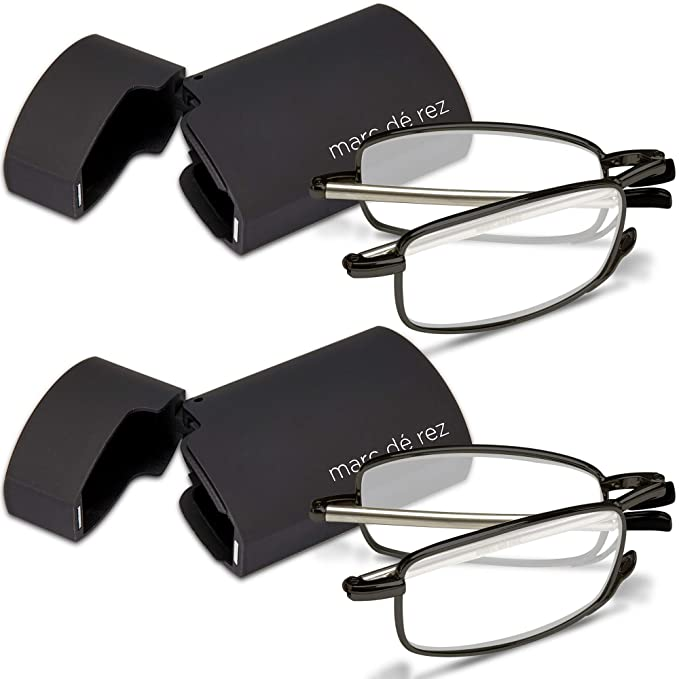 628750d8f5 Marc De Rez Foldable Mini Reading Glasses 2 Pack - Flip Top Cases - Folding  Prescription