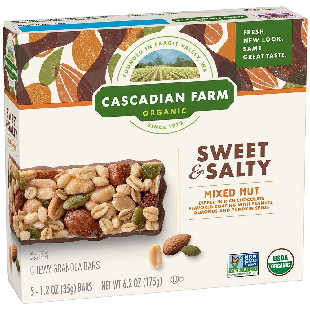 Cascadian Farm Organic Mixed Nut Sweet & Salty Chewy Granola Bars 5-1.2 oz. Bars