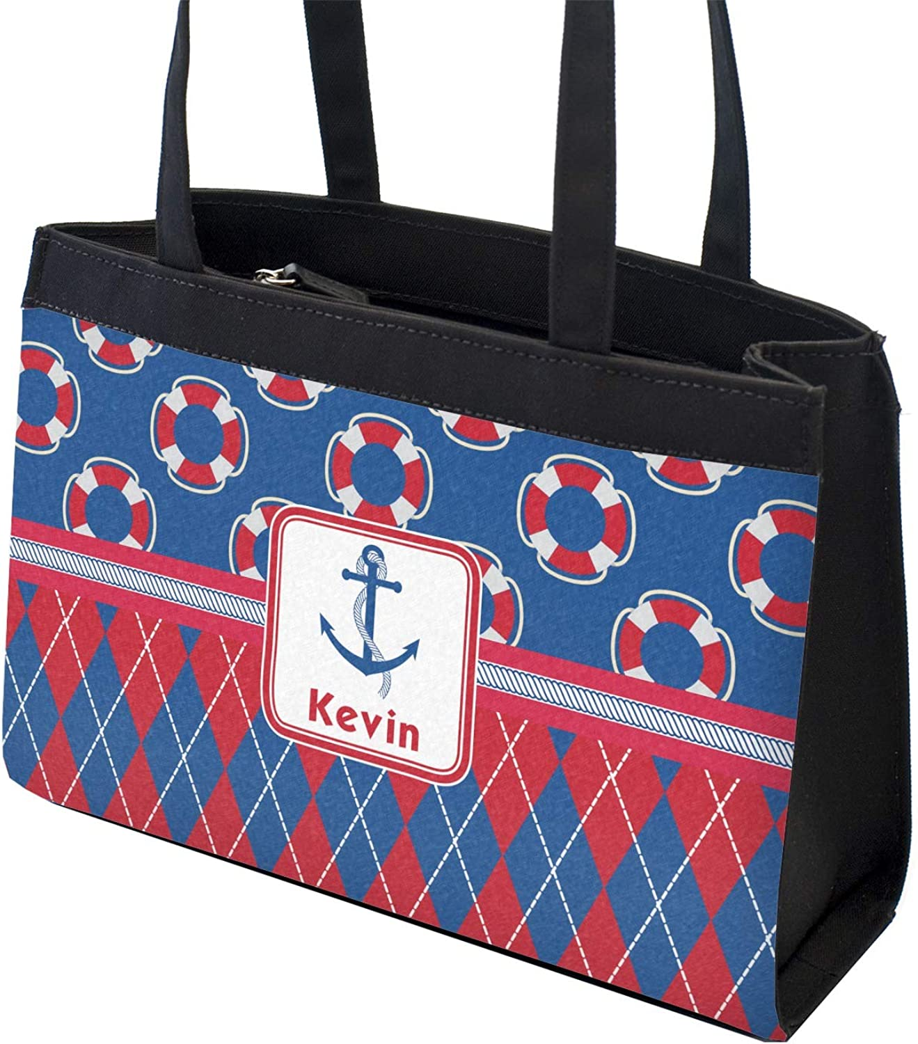 Buoy /& Argyle Print Zippered Everyday Tote Personalized Front