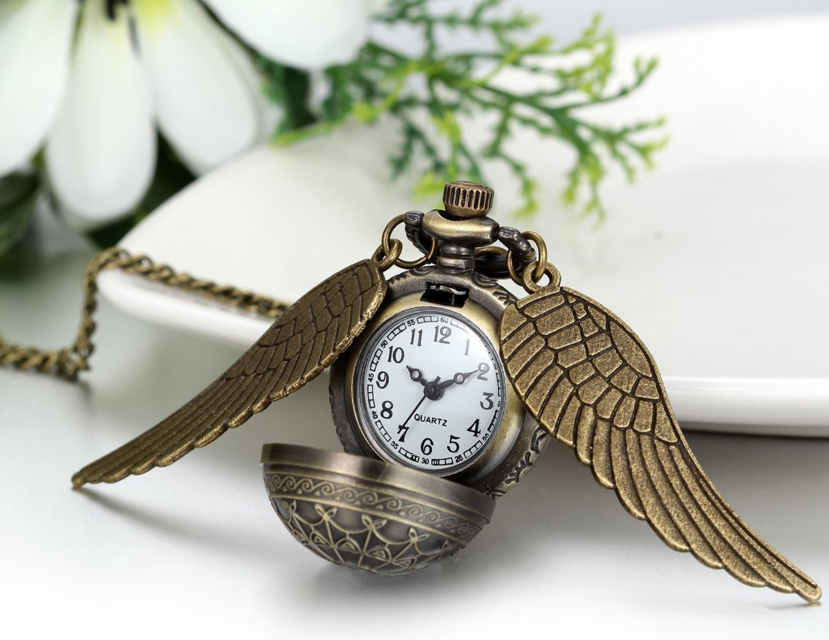 JewelryWe Vintage Retro Angel Wing Legendary Flying Ball Pendant Necklace Steampunk Pocket Watch (with Gift Bag) by Jewelrywe (Image #2)