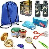 HomDSim 9-in-1 Outdoor Explorer Kit for Kids,Children Adventurer Exploration Equipment Set,Fun Backyard Bug Catching Adventure Set,Camping, Hunting, Hiking & Bird Watching, Pretend Play,Binoculars, Flashlight, Compass,Magnifying Glass