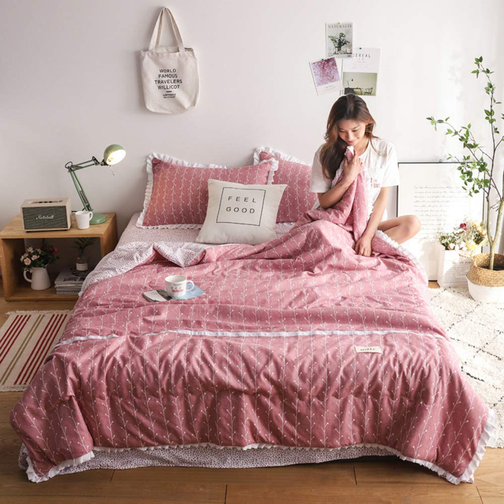 NGUYEN Thin Comforter for Summer Washable Quilted Coverlet Bedspread Bed Cover Summer Quilt Blanket for Kids Bedding (Dusty Rose,Queen)