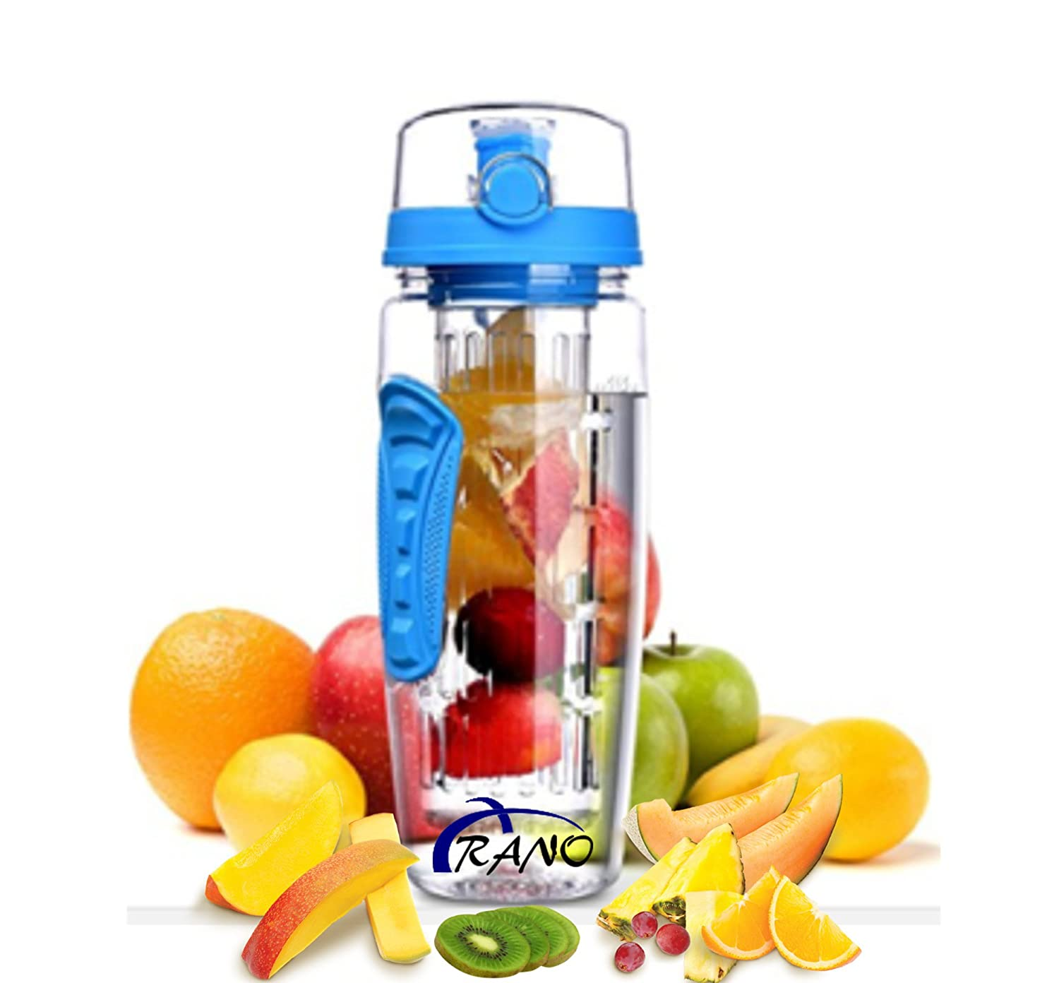 Arano 32オンスBPAフリーFruit Infuser水ボトル、粉砕、chemical-resistant Tritan withボタンflip-top and Long Infuser for Daily Hydrationジムスポーツキャンプ、水を使用Flavoring B076H31ZFD ブルー
