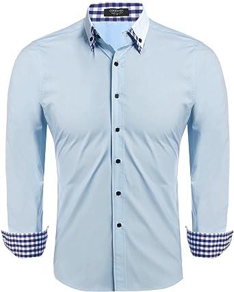 Coofandy - Camisa formal - para hombre azul claro M: Amazon.es: Ropa y accesorios