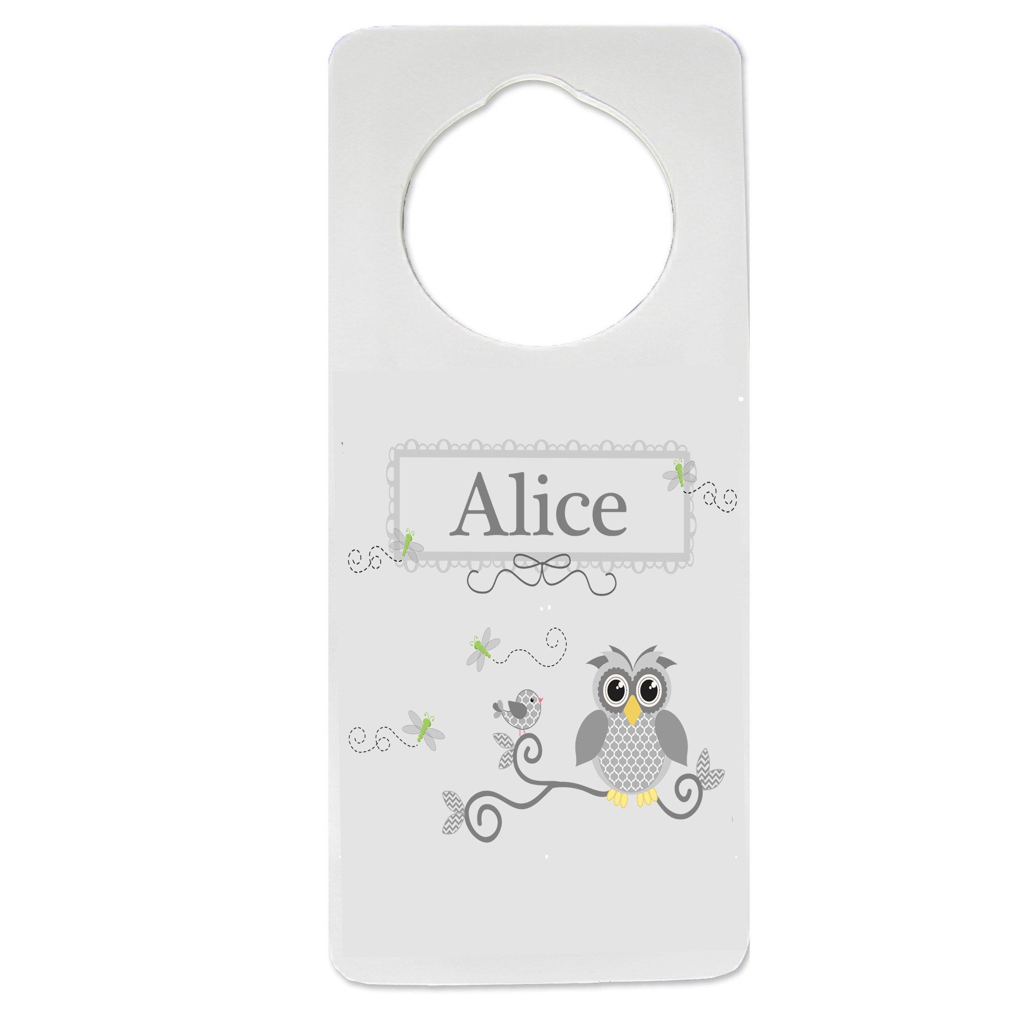 Personalized Nursery Door Hanger with Gray Owl design