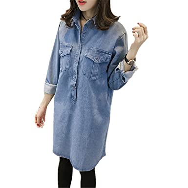 Beautifullight Great,Good looking Plus Size Women Denim Dress Fashion Spring Autumn Vintage Long Sleeve
