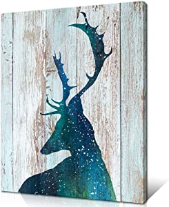 Innopics Wildlife Deer Canvas Wall Art Elk Painting Picture Prints Abstract Deer Silhouette Wall Decor Vintage Animal Poster Artwork for Office Bedroom Living Room Giclee Print Stretched Ready to Hang
