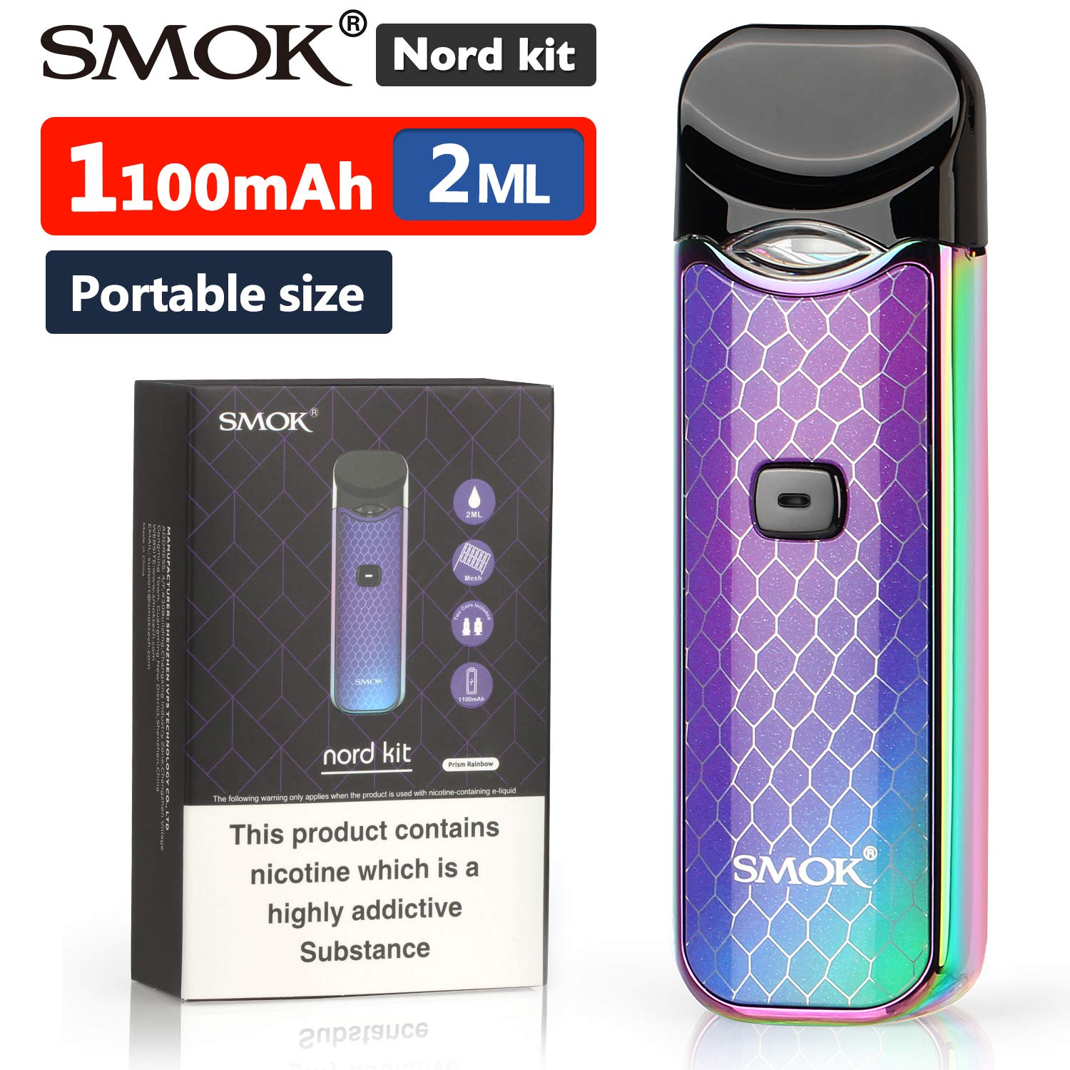 Official SMOK Nord 1100mAh 2ml E Cigarettes Vape Starter Kit, Refillable  Pod System, 2X Replaceable Coils 0 6 ohm Mesh Sub Ohm Huge Vapor, 1 6 MTL