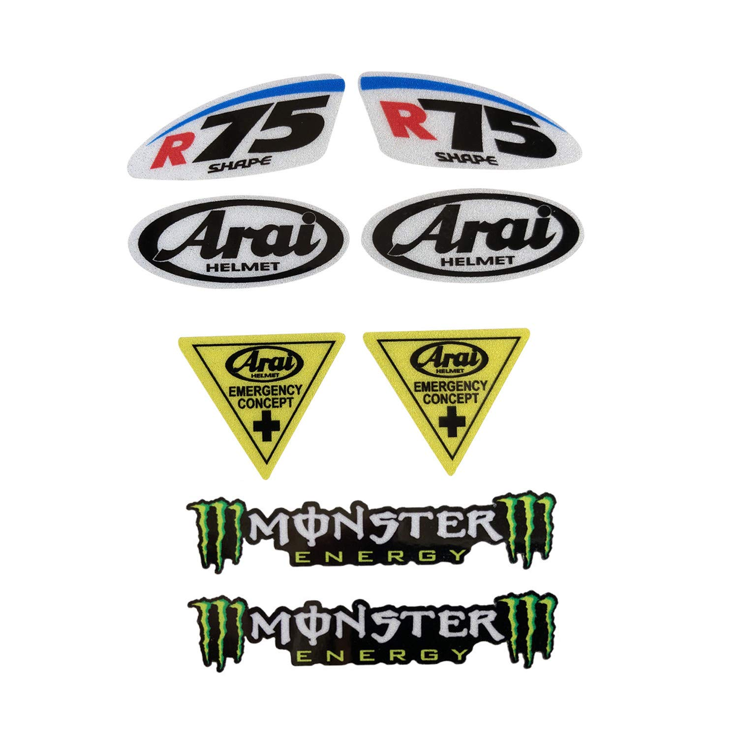 Amazon com llap motorcycle sticker decals for arai monster set rossi 46 motorcycle helmet decals set8 packs sports outdoors