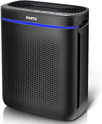 PARTU Air Purifier True HEPA Filter for Bathroom Living Room Smart Sensor Eliminator for Cigarette Smoke, Allergies, Dust, Odor and Pets Dander, Pollen, No Ozone Available for California