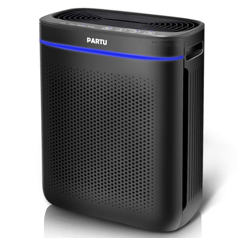 PARTU Air Purifier True HEPA Filter for Bathroom Living Room Smart Sensor Eliminator for Cigarette Smoke, Allergies, Dust, Odor and Pets Dander, Pollen, No Ozone Available for California