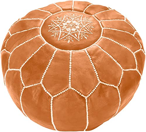 Marrakesh Gallery Moroccan Pouf – Genuine Goatskin Leather – Bohemian Living Room Decor – Hassock Ottoman Footstool – Round Large Ottoman Pouf – Unstuffed – Includes Stuffing Instructions