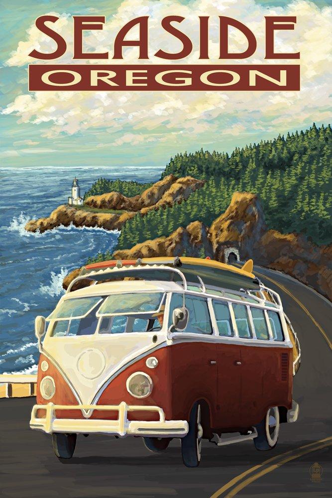 Seaside, Oregon - Camper Van Coastal Drive (12x18 Art Print, Wall Decor Travel Poster)