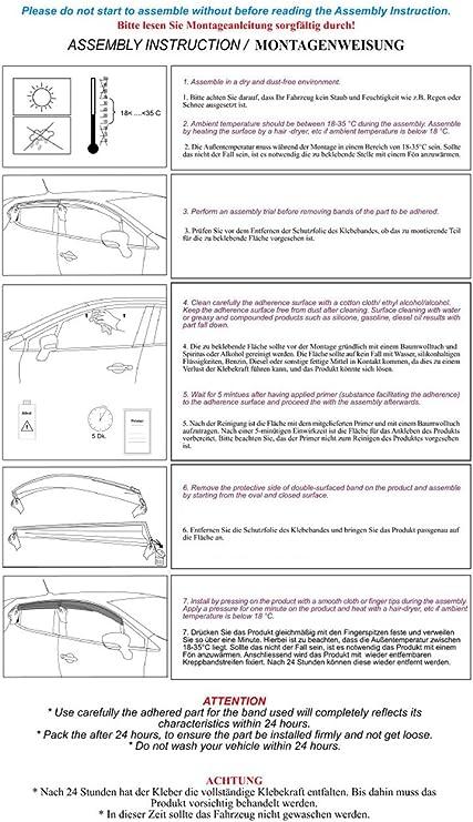Pioggia di deflettore vento 4/pezzi nero per Fiat Doblo II