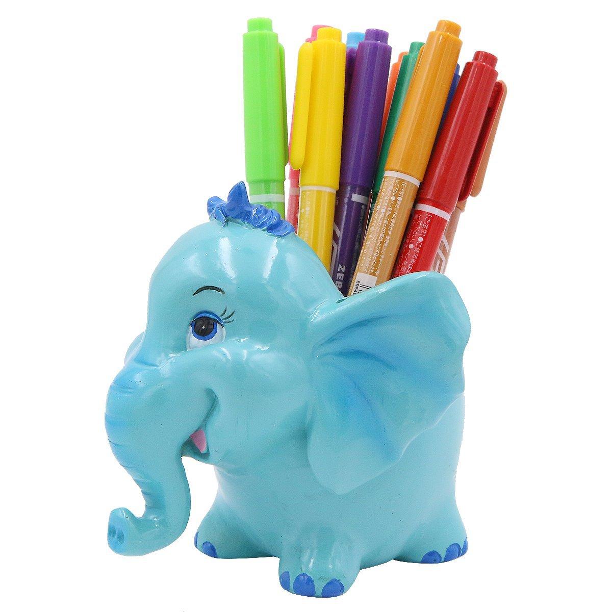 Exquisite Cute Resin Animal Pen Pencil Holder Storage Box Desk Organizer Accessories (Elephant)