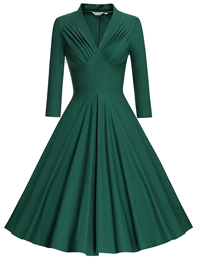 1940s Dresses | 40s Dress, Swing Dress MUXXN Womens V Neck Elegant 3/4 Sleeve Vintage Bridesmaid Party Dress  AT vintagedancer.com