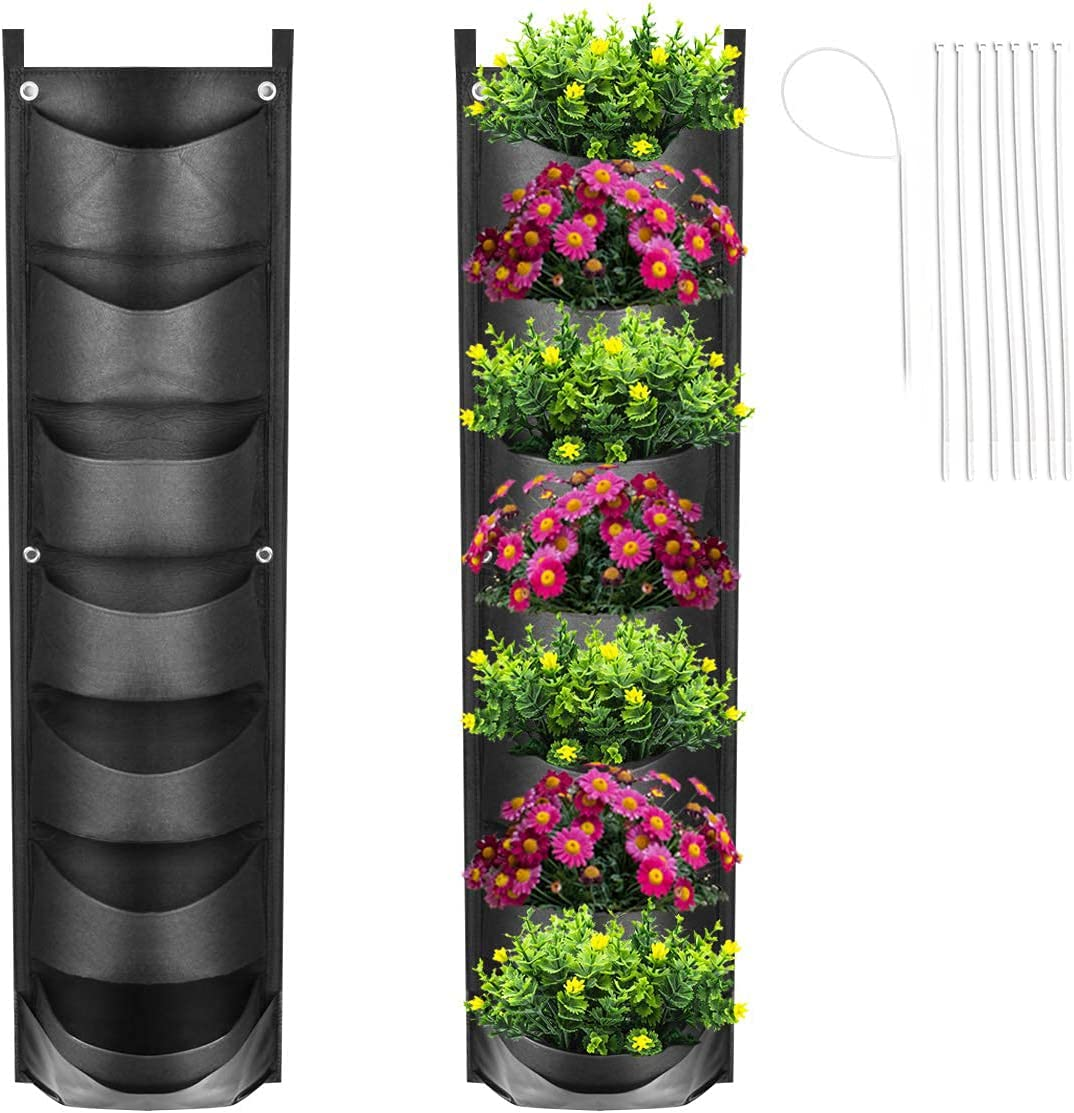New Upgrade Deeper and Bigger Hanging Vertical Garden Planter with 7 Pockets,Waterproof Wall Mount Planter for Garden Courtyard Office Home Decoration (Black / 7 Pockets)