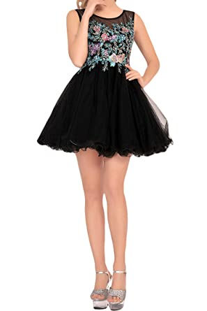 LovingDress Womens Homecoming Dresses Taffeta Open Back Sexy Short Prom Dresses Size 0 Style Black