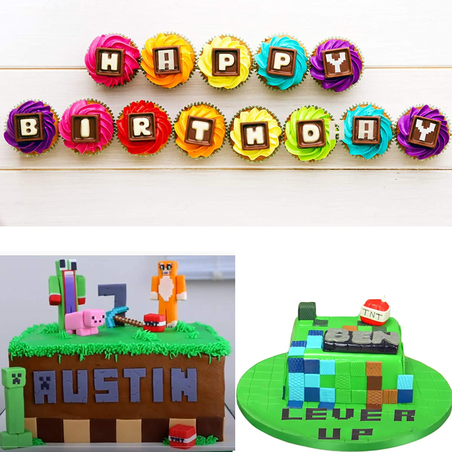 Game Theme Party Cake Decoration Mity rain Video Game Alphabet and Number Fondant Silicone Mold Capital Letter Punctuation Candy Chocolate Mold for DIY Gumpaste SugarCraft Cupcake Topper