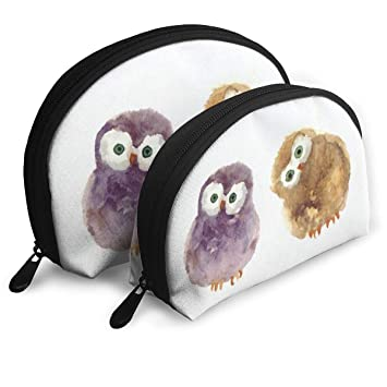 733487013b3d Amazon.com : Makeup Bag Cute Watercolor Owl Handy Shell Cosmetic ...