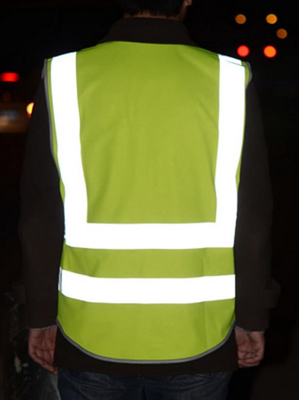 Gilets de s/écurit/é multifonctionnels et r/éfl/échissants Haute visibilit/é Vert fluo Poches multiples