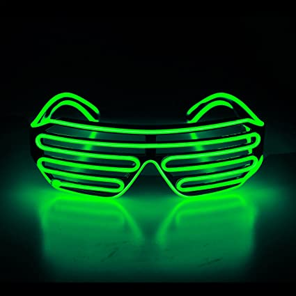 New EL Wire Shutter Glasses Battery//Sound Activaed Glowing Shades Rave EDM