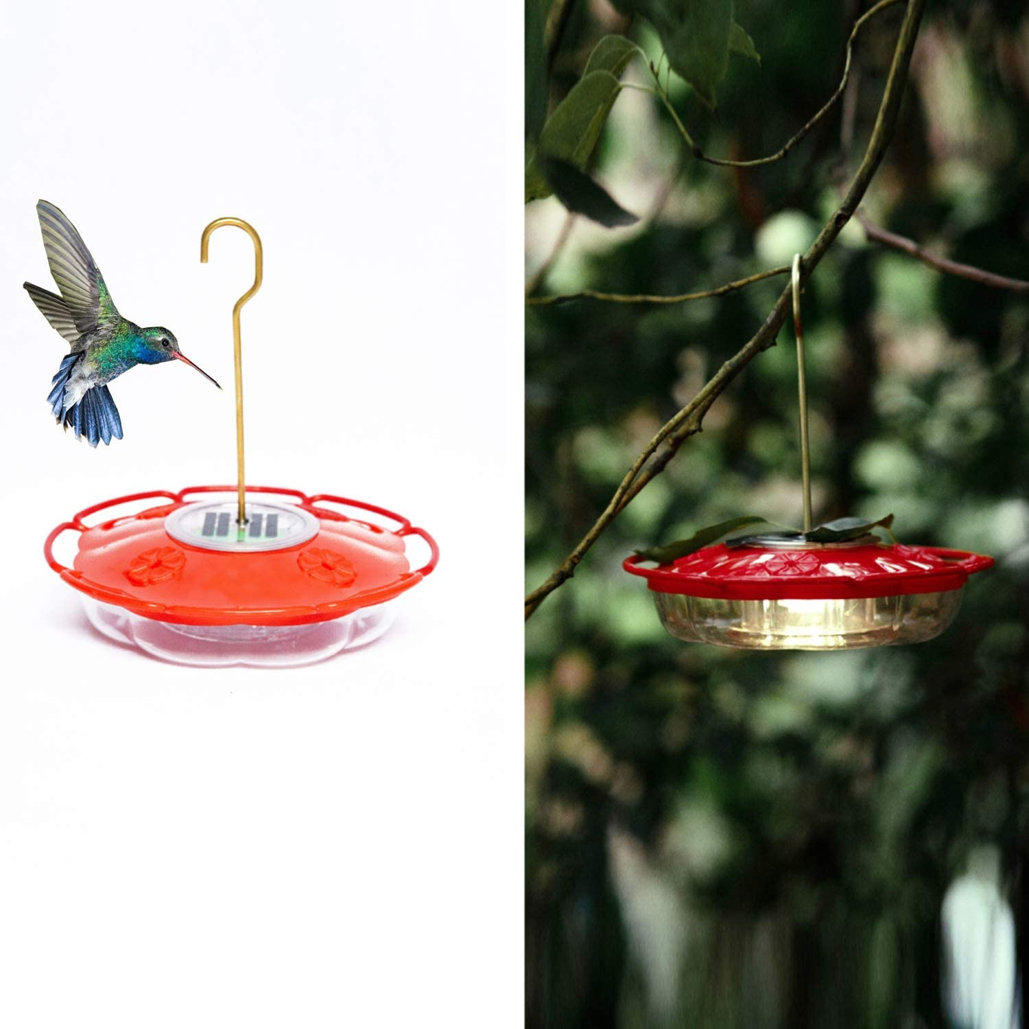 VOOKRY Hummingbird Feeder Window, Solar Hanging12 oz Flower Bird Feeder with 4 Feeding Stations for Outdoors