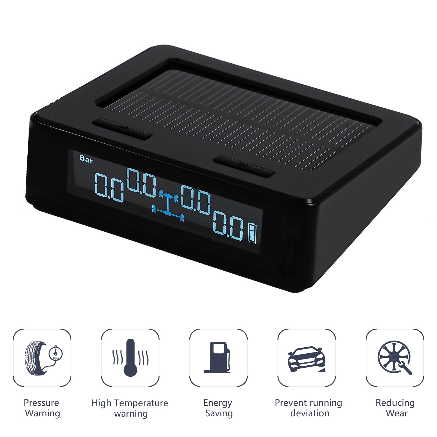 Internal Sensor TYDO Solar Powered TPMS Wireless Tire Pressure Monitoring System 4 Sensors DIY Tire Gauge with Auto Alarm System Real-time LED Displays for RV Trailer