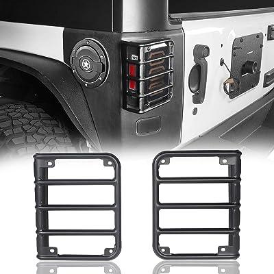 Hooke Road Matte Black Light Guards for Rear Taillights (Tail Light) Covers fit 2007-2020 Jeep Wrangler JK - Pair: Automotive [5Bkhe1005643]
