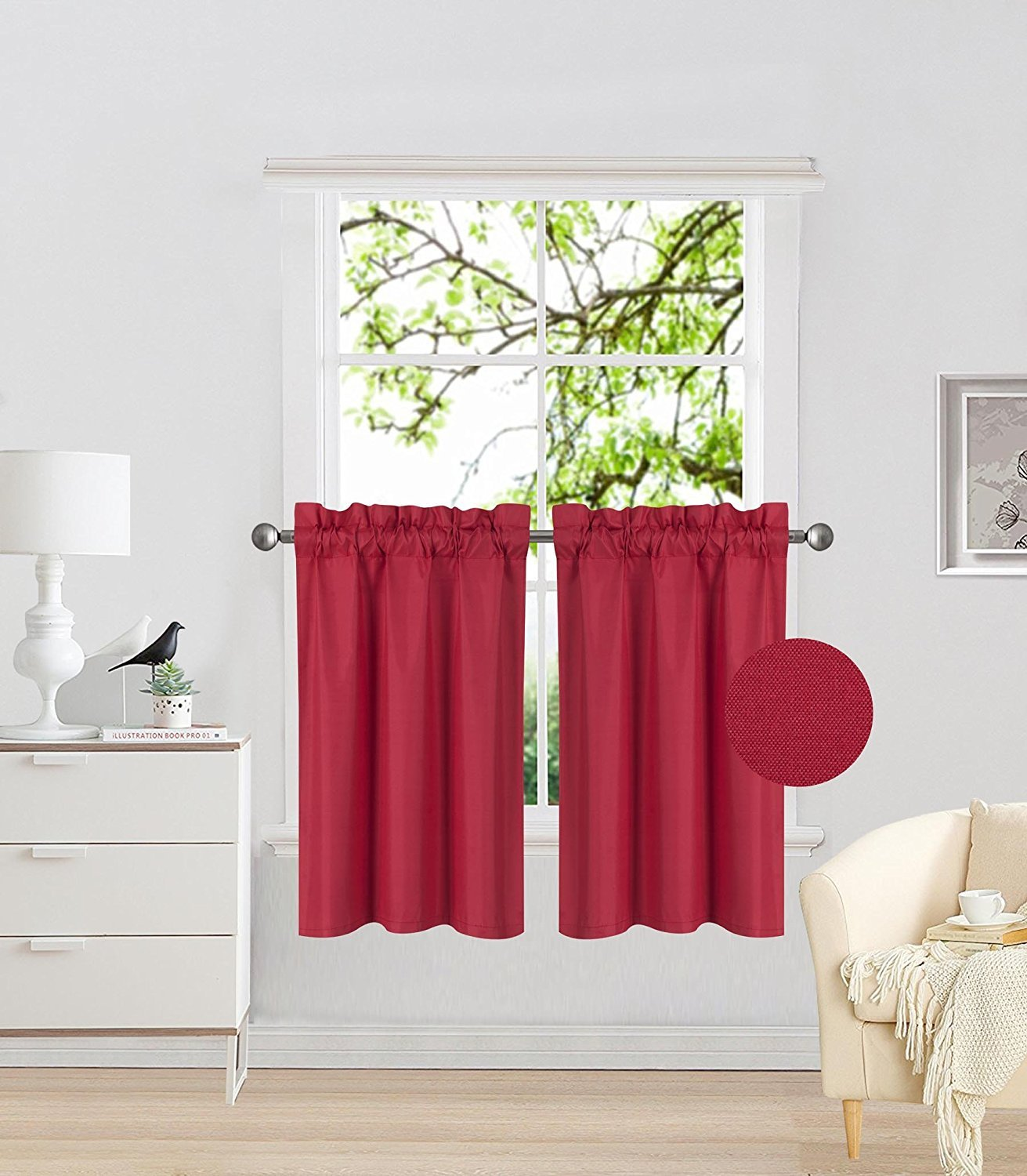 Fancy Collection 2 Panel Blackout Curtains Draperies Thermal Insulated Solid Red Rod Pocket Top Drapes Each Panel is 27'' W X 36'' L for Kid's Room, Bathroom, Kitchen New