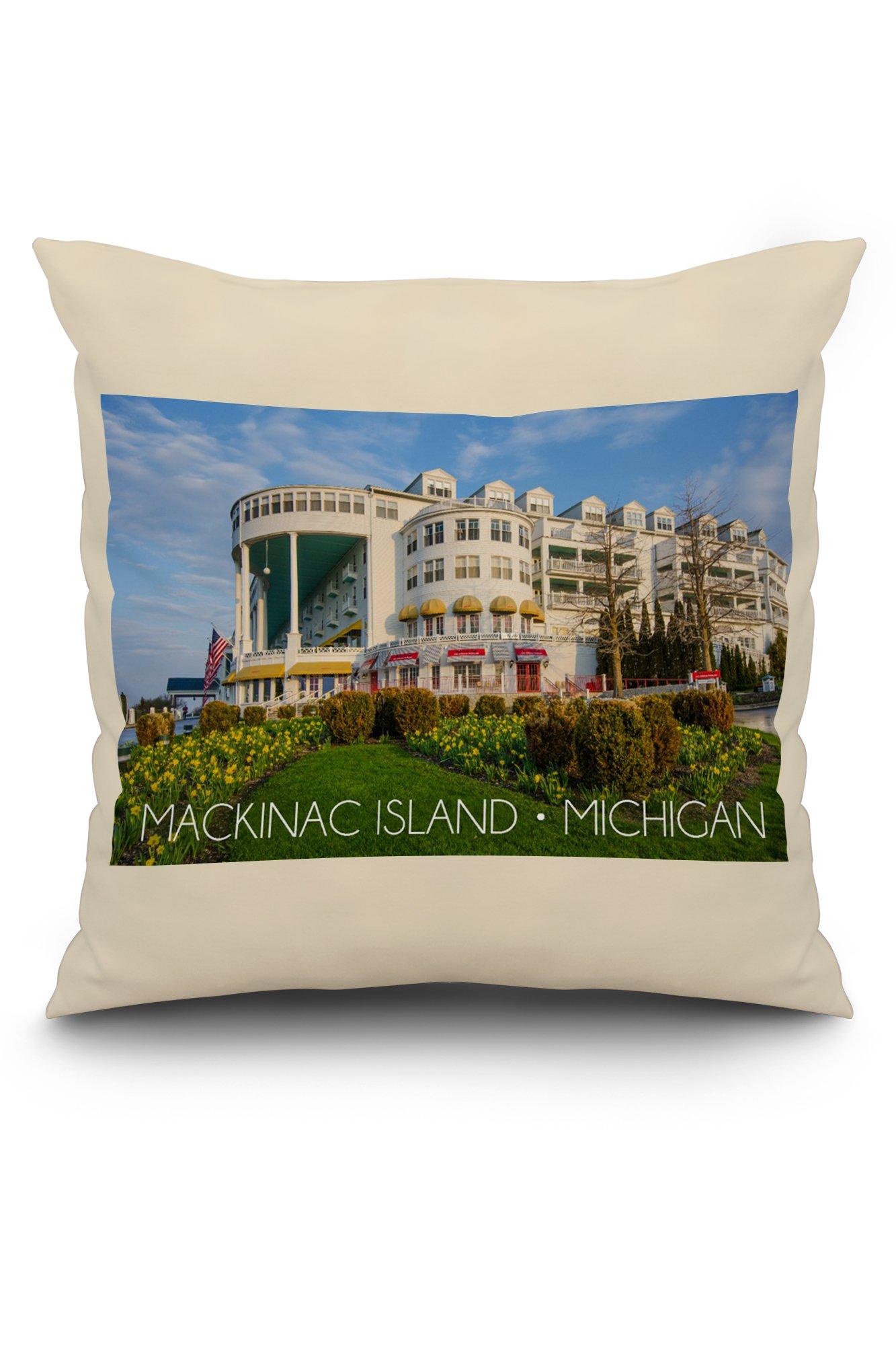 Mackinac Island, Michigan - Grand Hotel (20x20 Spun Polyester Pillow, White Border)