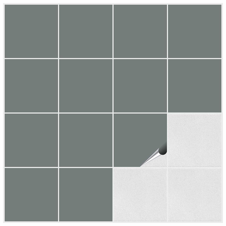FoLIESEN Fliesenaufkleber für Bad und Küche - 15x15 cm - grau matt ...