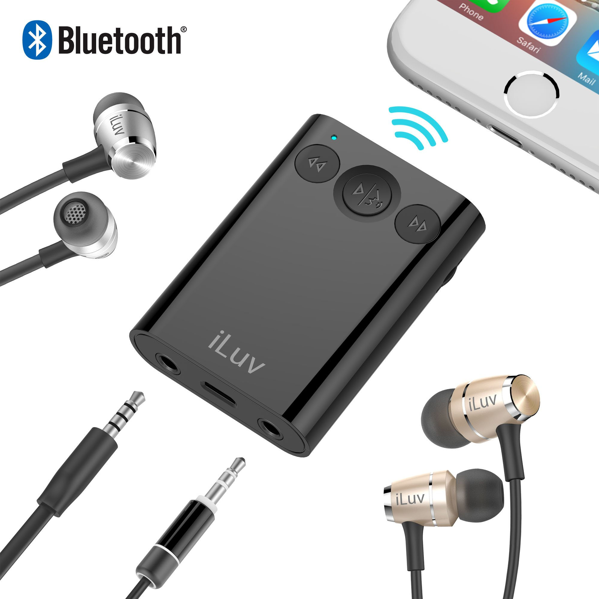 Bluetooth Stereo Receiver with Hands-free, 2-Way Splitter Adapter & Dual Volume Control for iPhone 7/7 Plus/8/8 Plus/X, Samsung GS7/S8, Smartphones and Home/Car Audio System