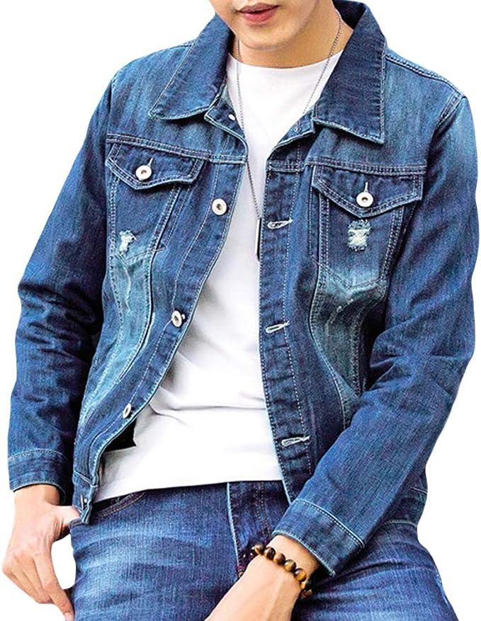 デニムジャケット ダメージ 長袖 おしゃれ メタルボタン ゆったり カジュアルジャケット アウター 大きいサイズ ブルゾン 春秋