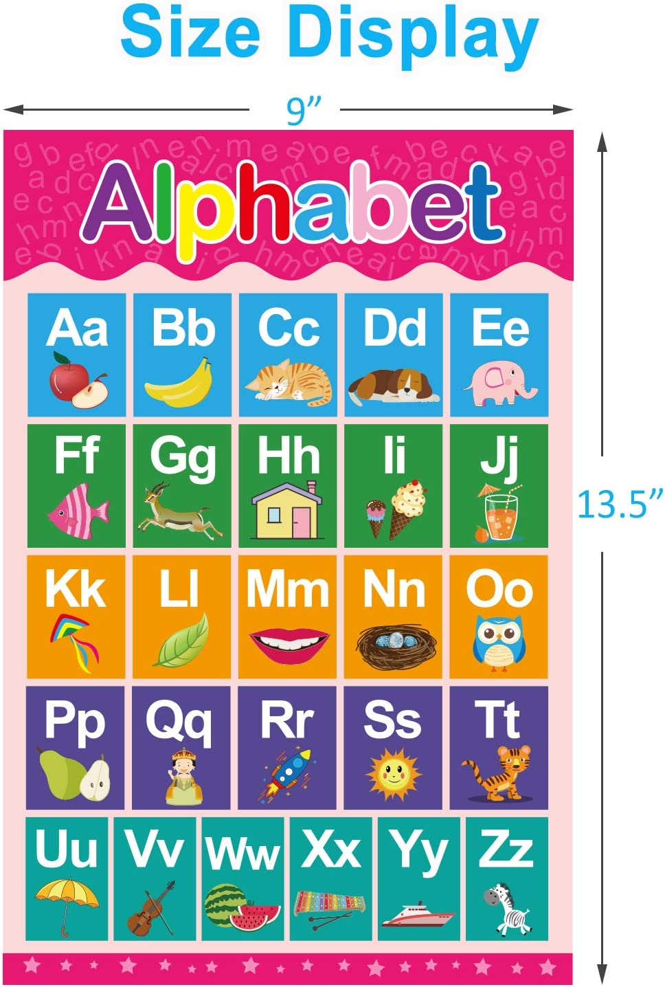 12 Pack Yoklili Educational Preschool Posters for Toddlers and Kids Classroom Nursery Homeschool Kindergarten Learning Alphabet Numbers Shapes Colors Days