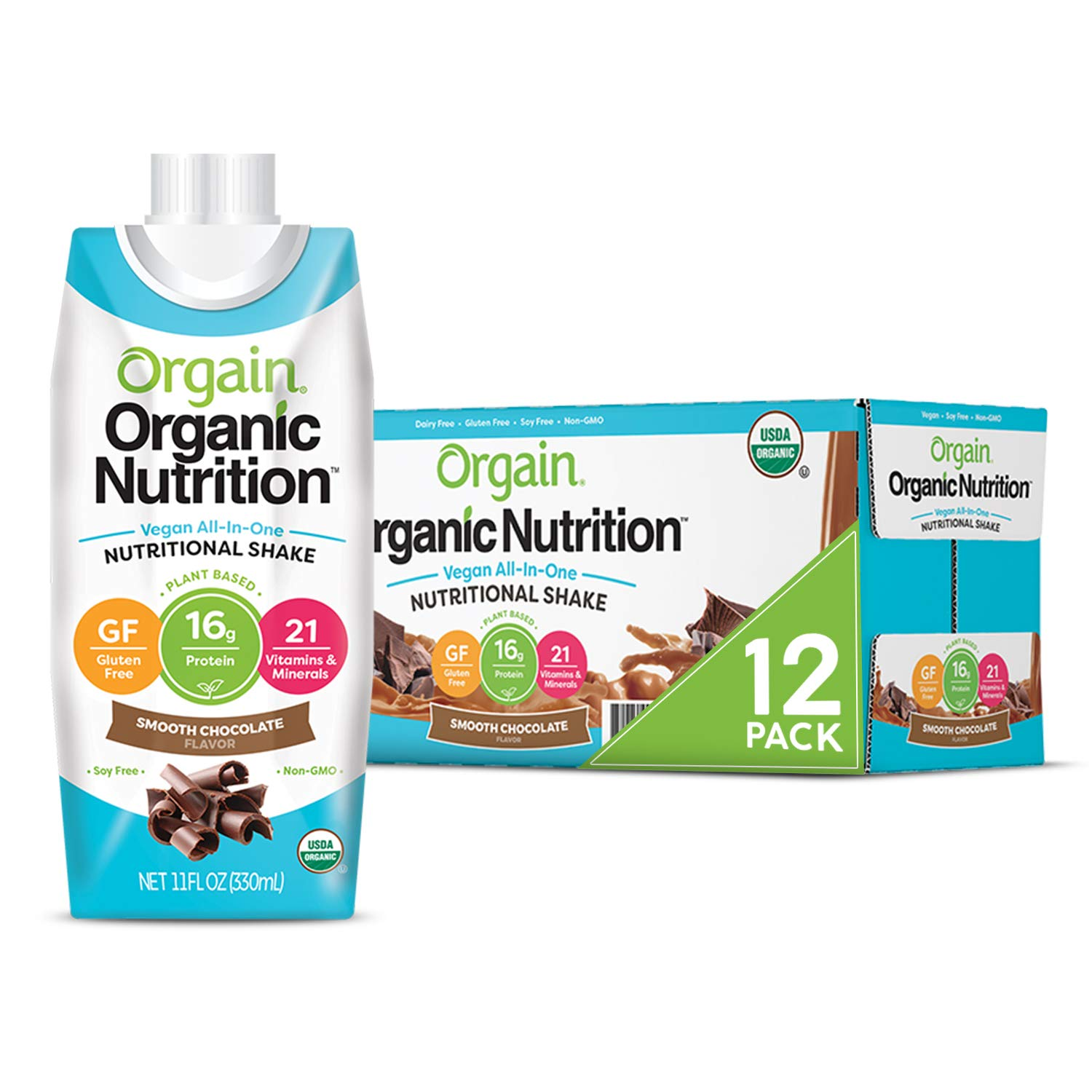 Orgain Organic Vegan Plant Based Nutritional Shake, Smooth Chocolate - Meal Replacement, 16g Protein, 21 Vitamins & Minerals, Dairy Free, Gluten Free, 11 Ounce, 12 Count (Packaging May Vary) : Grocery & Gourmet Food