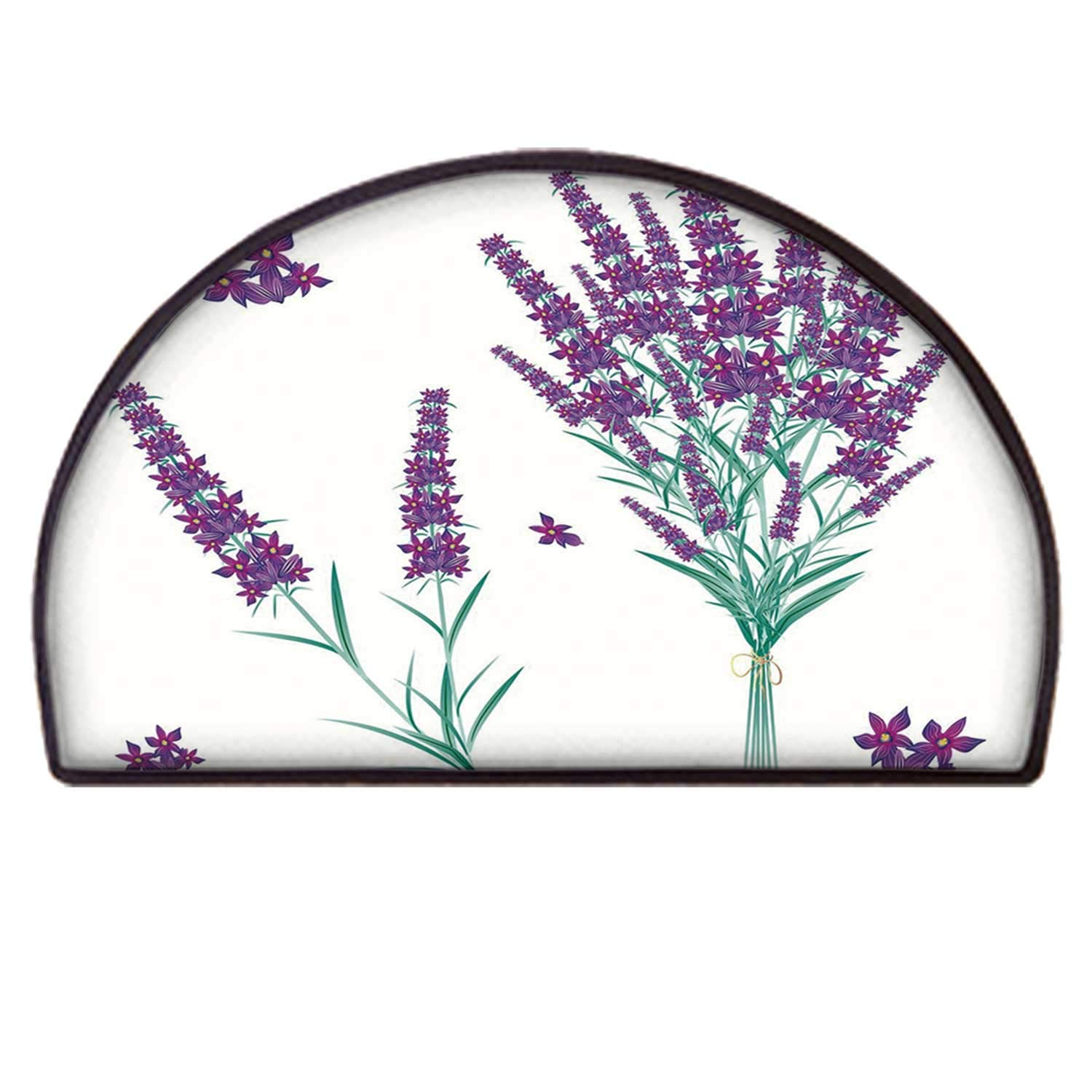 C COABALLA Lavender Non Slip Semicircle Mat,Aromatic Blossoms Bouquet from Provence France Fragrant Herbal Flora Decorative for Indoor,90 x 180cm / 35.43 x 70.86 inch by C COABALLA