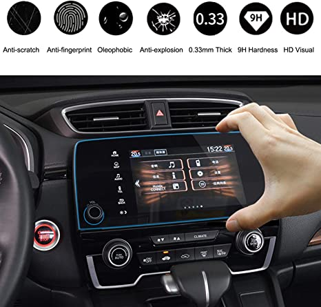 Wonderfulhz Tempered Glass Screen Protector Compatible with 2016 2017 2018 Honda Civic 9H Hardness,Anti Fingerprint,Protect Honda 7 Car Center Touch Screen