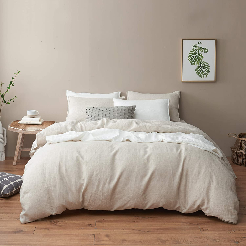 18 x 18 European 100/% Washed Linen Eggshell Pillow Cover