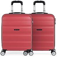ITACA - Set 2 Maletas Pequeñas para Viaje en Pareja. Rígidas 4 Ruedas 55x40x20 cm Cabina Trolley ABS. Equipaje de Mano…