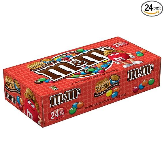 M/&M/'S White Peanut Singles Size Chocolate Candy 24-Count Box USA 1.41 oz