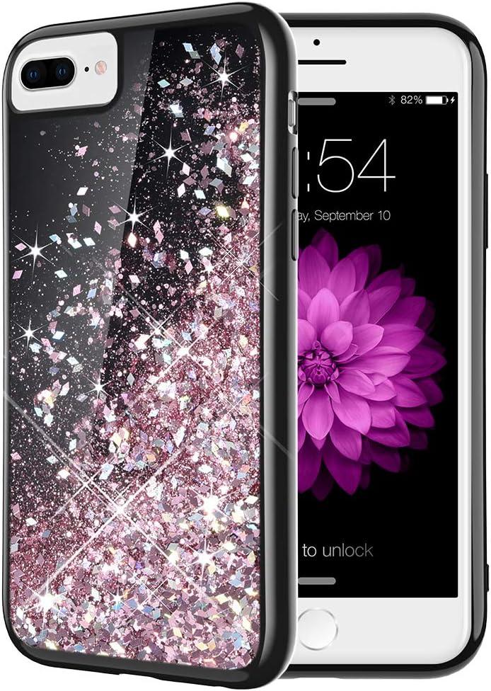 Caka iPhone 8 Plus Case, iPhone 6 Plus 6S Plus 7 Plus Glitter Case for Women Girls Bling Flowing Liquid Sparkle TPU Black Case for iPhone 6 Plus 6S Plus 7 Plus 8 Plus (Rose Gold)