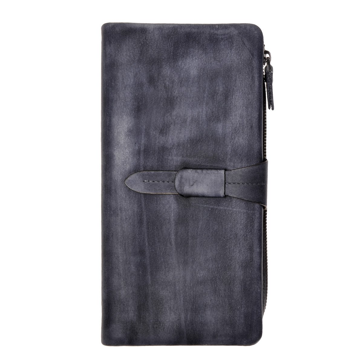 ZLYC Women's Handmade Soft Leather Long Clutch Card Holder Wallet Fits iPhone 8 X, Gray