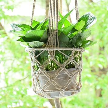 macrame plant hanger plant holder hanging plant pot basket rope plant pot support macrame jute hanging - Hanging Plant Holders