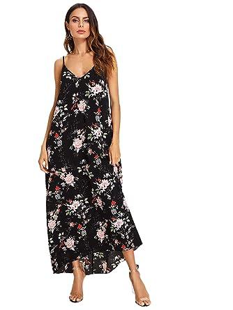 91c65703fd6 Milumia Women s Spaghetti Strap Cami Slip Maxi Dress at Amazon ...
