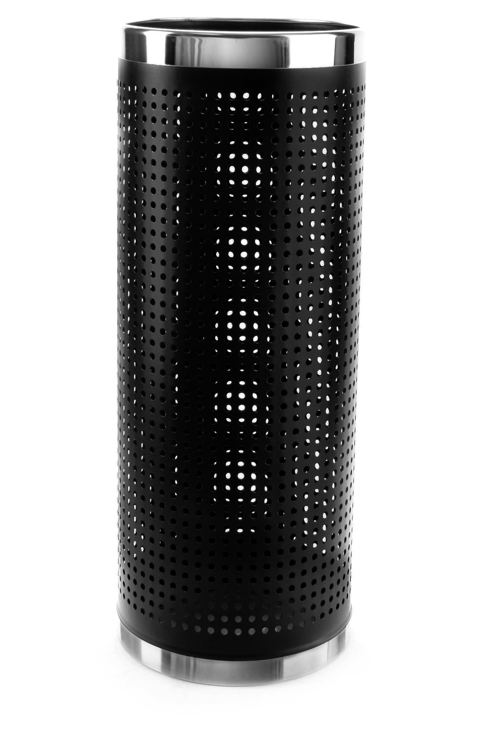 Brelso Metal Perforated Side Umbrella Stand with Stainless Steel Rims, Black