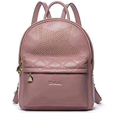 bcf592e38 Amazon.com: BOSTANTEN Women Leather Backpack Purse Satchel Shoulder Travel  Bags for Women Pink: Clothing