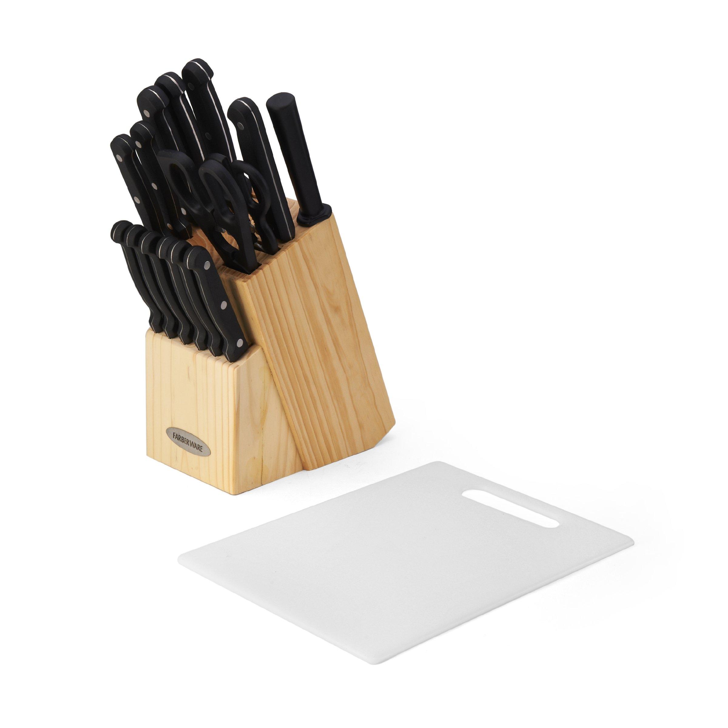 Farberware 5105225 17-Piece Triple Rivet High-Carbon Stainless Steel Knife Block Set with Plastic Cutting Board, Beechwood/Black