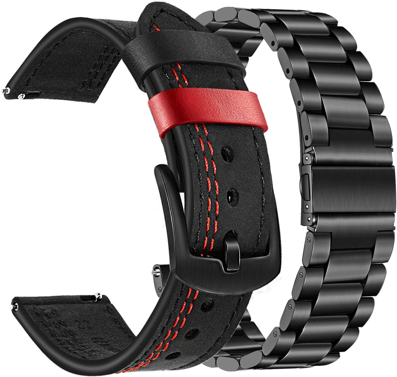 TRUMiRR Compatible con Samsung Galaxy Watch 46mm/Gear S3 Correa de Reloj,22mm Banda de Cuero Genuino de Doble Color+Correa sólida de Acero Inoxidable Pulsera de liberación rápida para Huawei Watch GT