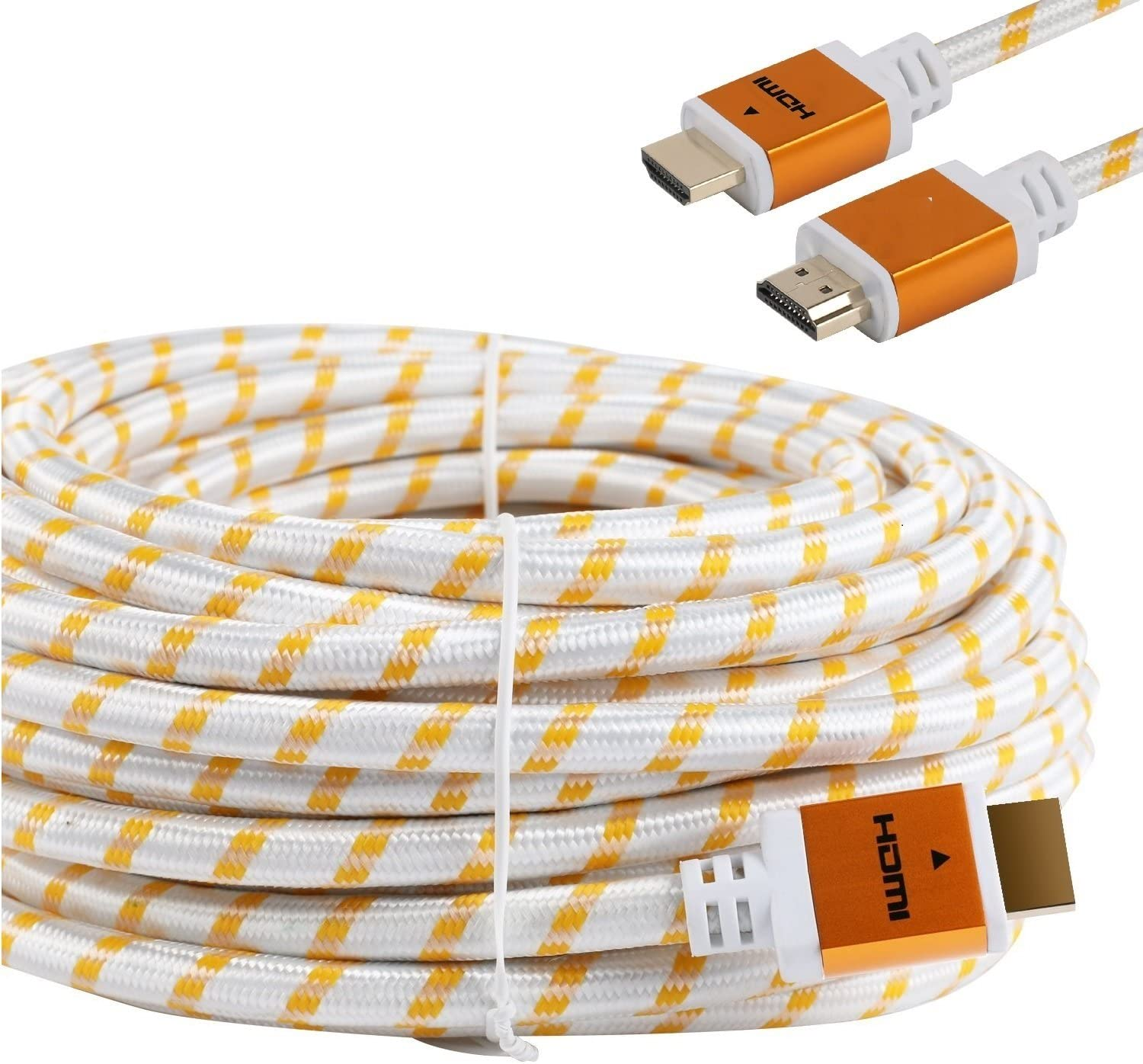 Gold Plated Connectors CableVantage HDMI Braided for PS4 HDMI Cable 18Gbps Premium Braided Cord 50FT Video HD 1080p,3D PlayStation PC Computer Monitor White Ethernet,Audio Return